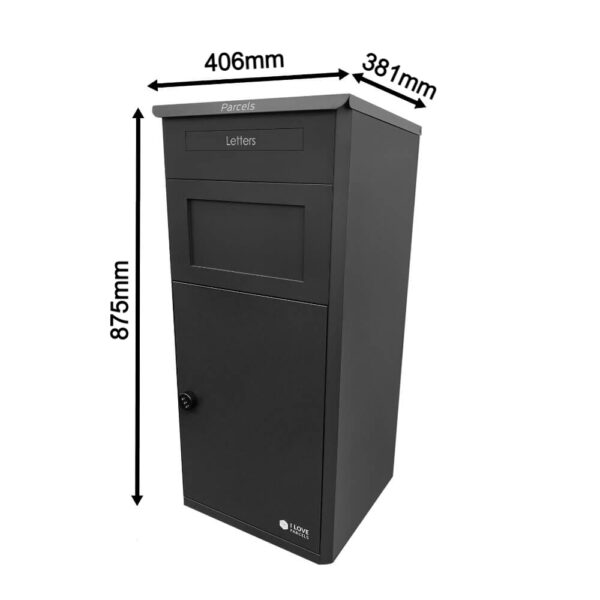 Dimensions of Large Black Parcel Box Closed