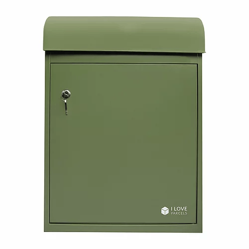 Medium green parcel box seen from the front OLD