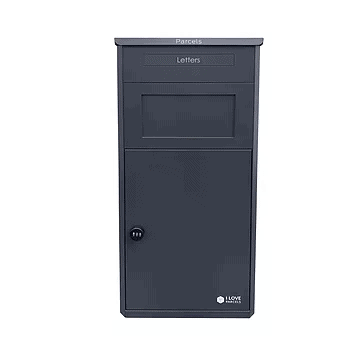 Grey large parcel drop box from the front OLD