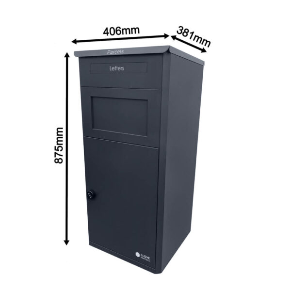 Closed Large Grey Parcel Box With Dimensions
