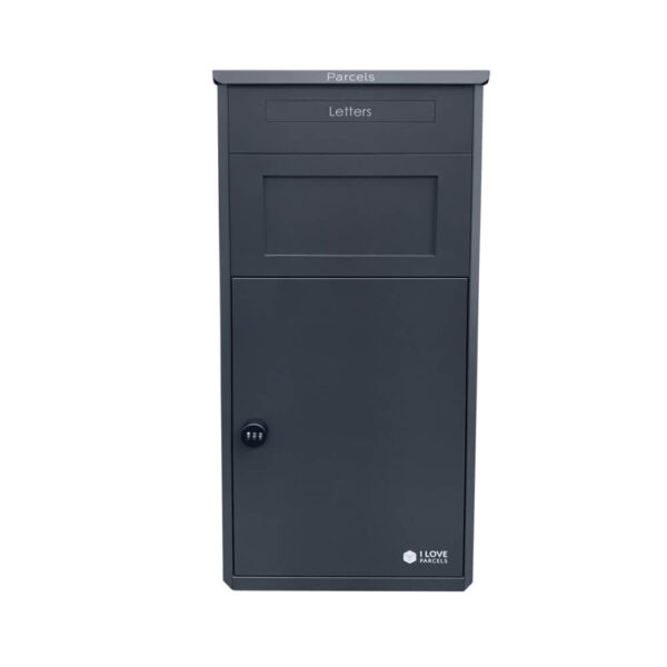 Grey large parcel drop box from the front