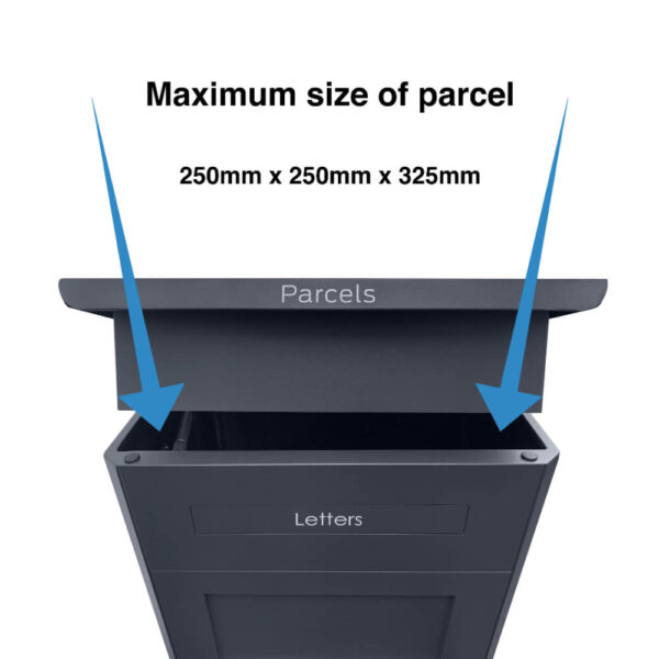 Maximum size of parcels that can fit into the grey large parcel box