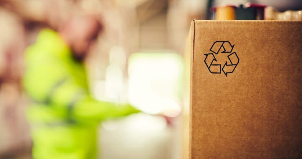 A closeup of the recyclable logo on a parcel