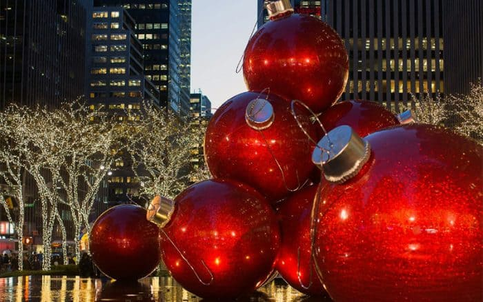 Large red baubles decorating a street