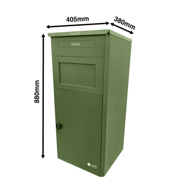 Dimensions of closed large green parcel drop box