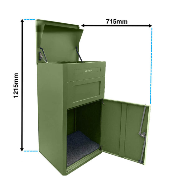 The dimensions of the large green parcel drop box when opened