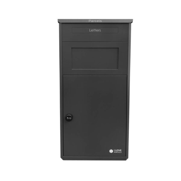 Front of the large black parcel drop box