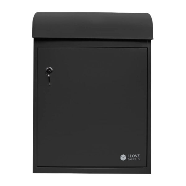 Front view of the medium black parcel box