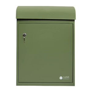 Medium green parcel box seen from the front