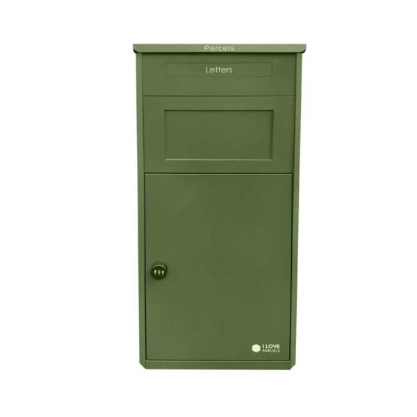 Green parcel box, front-facing view