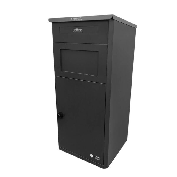Large black parcel box seen from the left