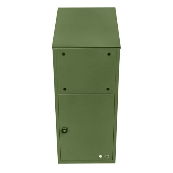 Large green parcel box, seen from the back