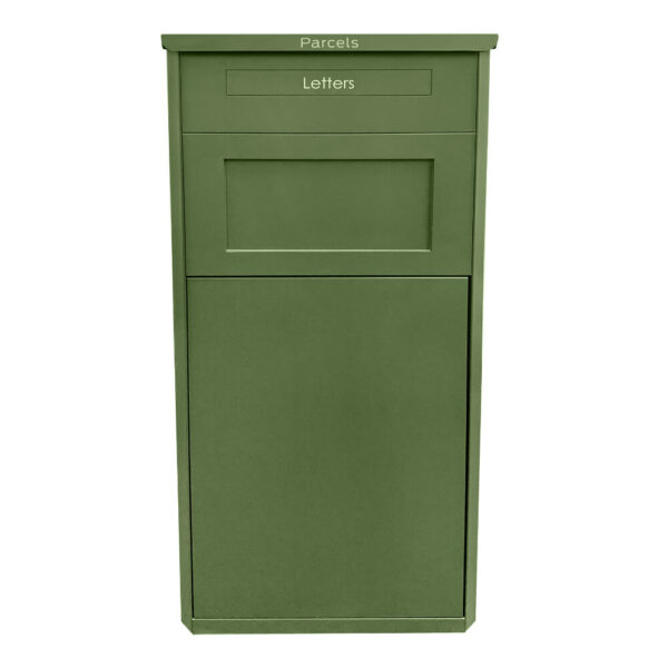 Large green parcel box seen from the front