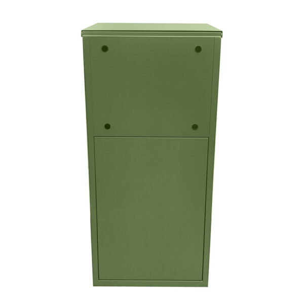Large green parcel box, closed from the back