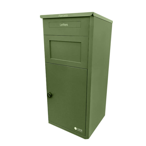 Large green parcel box, seen from the left