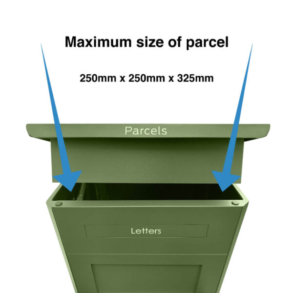 Maximum size of parcel that can go into the large green parcel box