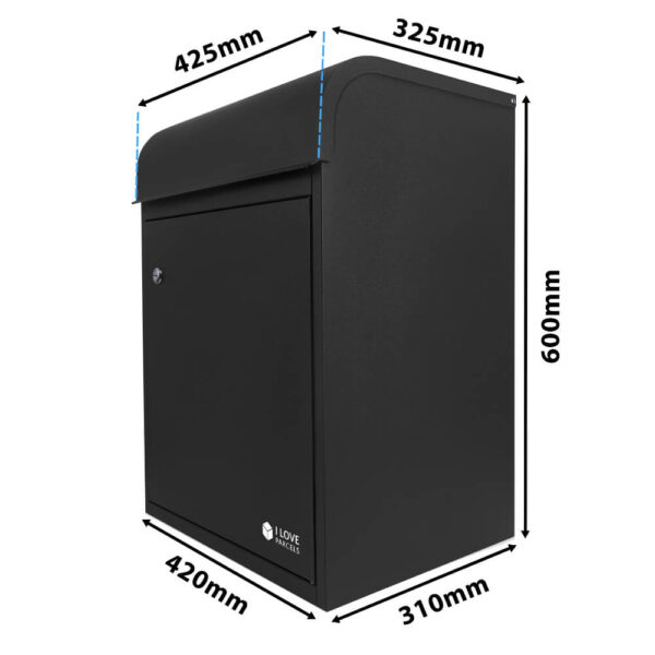 Dimensions of the medium black parcel box