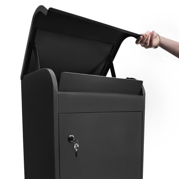 The medium black parcel box opened at the top