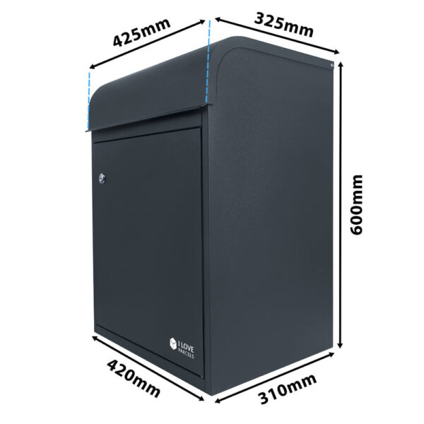 Dimensions of the medium grey parcel box