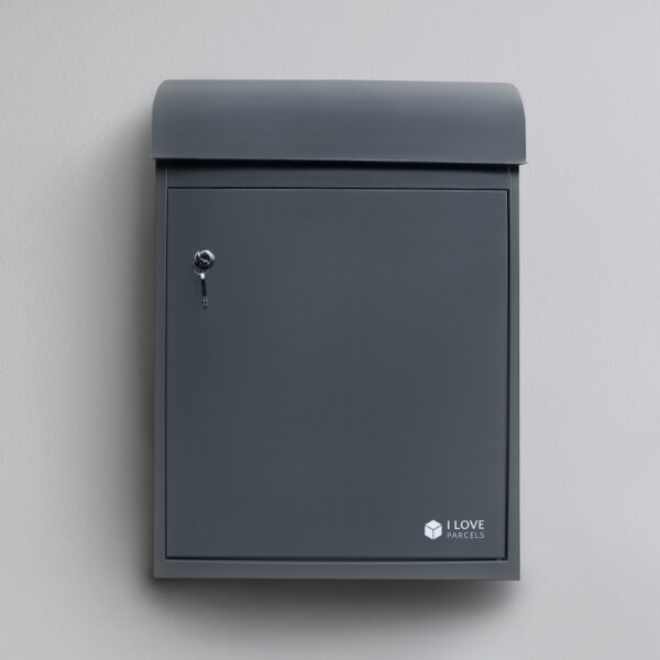 Medium grey parcel box seen from the front