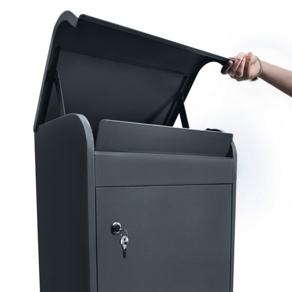 The medium grey parcel box opened at the top