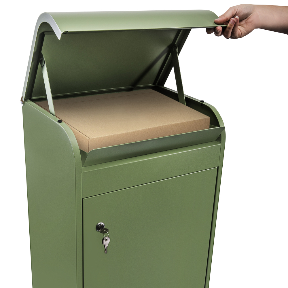 Medium green parcel box opened with a package inside