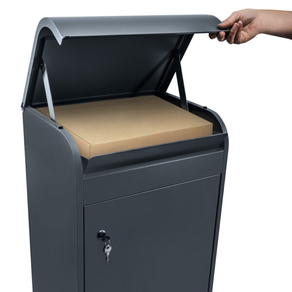 Medium grey parcel box opened with a package inside