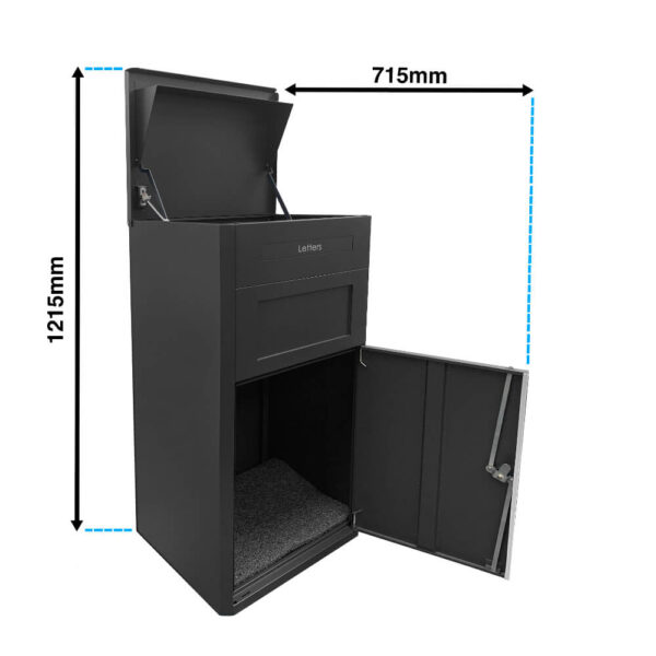 The dimensions of the large black parcel drop box when opened