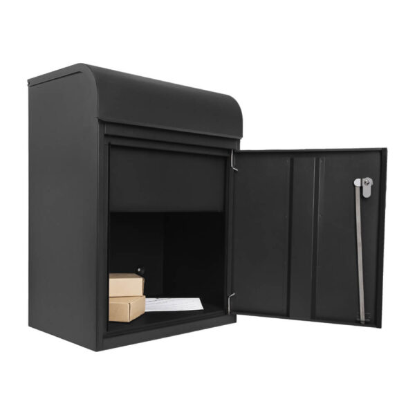 Medium black parcel box opened at the front, with packages inside