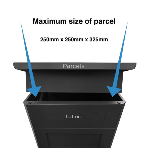 The maximum dimensions of a parcel that can fit into the large black parcel drop box